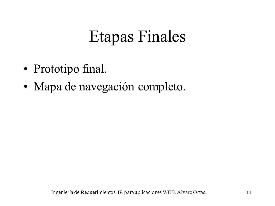 Ingeniería de Requerimientos. IR para aplicaciones WEB. Alvaro Ortas. 11 Etapas Finales Prototipo final. Mapa de navegación completo.