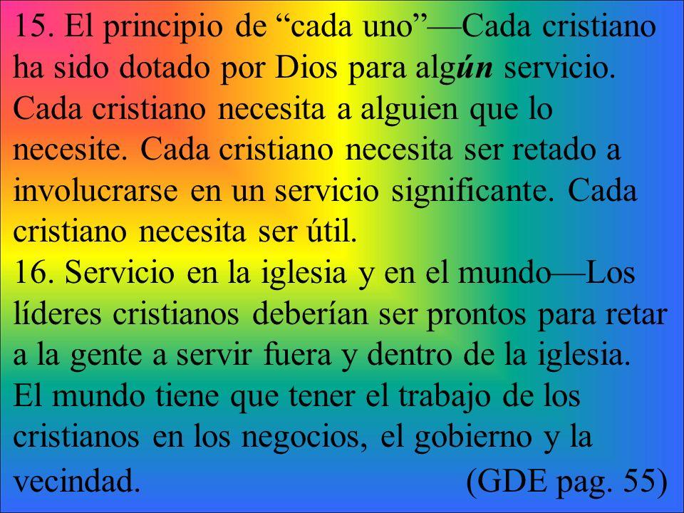 15.El principio de cada unoCada cristiano ha sido dotado por Dios para algún servicio.
