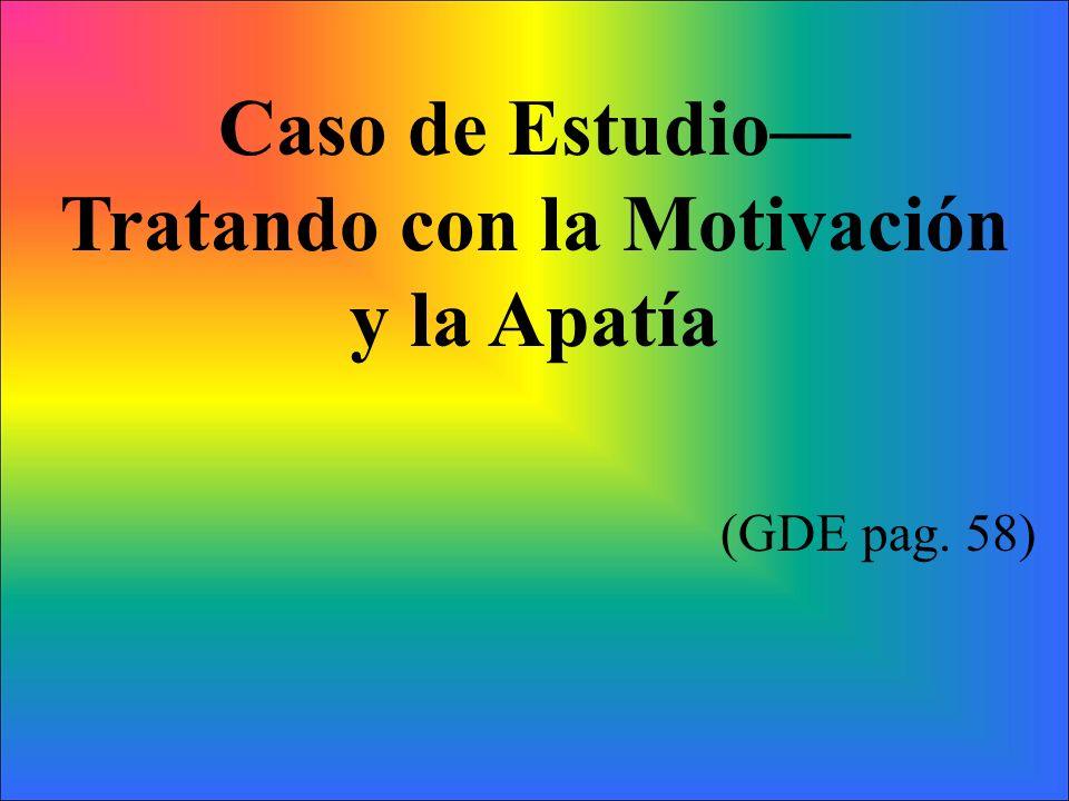 Caso de Estudio Tratando con la Motivación y la Apatía (GDE pag. 58)