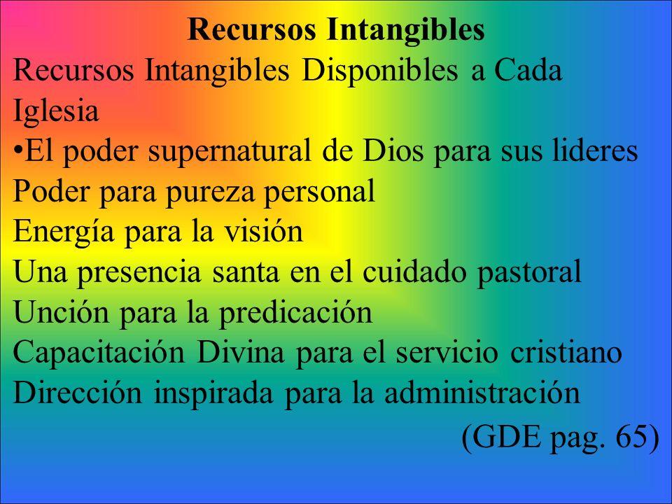 Recursos Intangibles Recursos Intangibles Disponibles a Cada Iglesia El poder supernatural de Dios para sus lideres Poder para pureza personal Energía