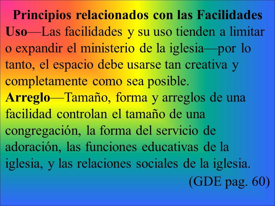 Principios relacionados con las Facilidades UsoLas facilidades y su uso tienden a limitar o expandir el ministerio de la iglesiapor lo tanto, el espac