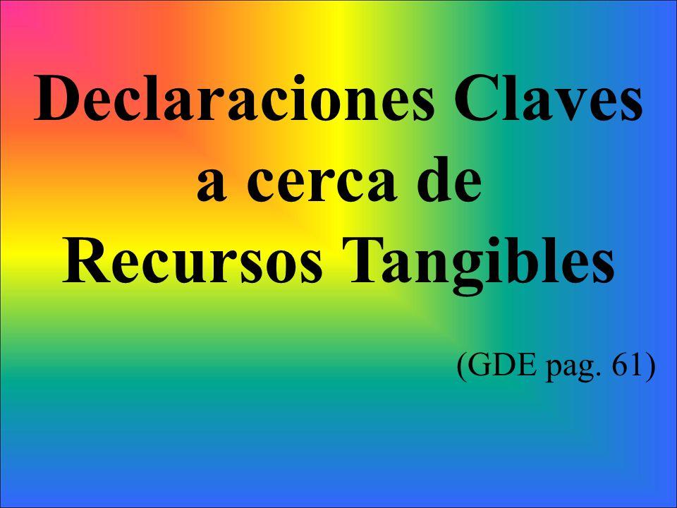 Declaraciones Claves a cerca de Recursos Tangibles (GDE pag. 61)