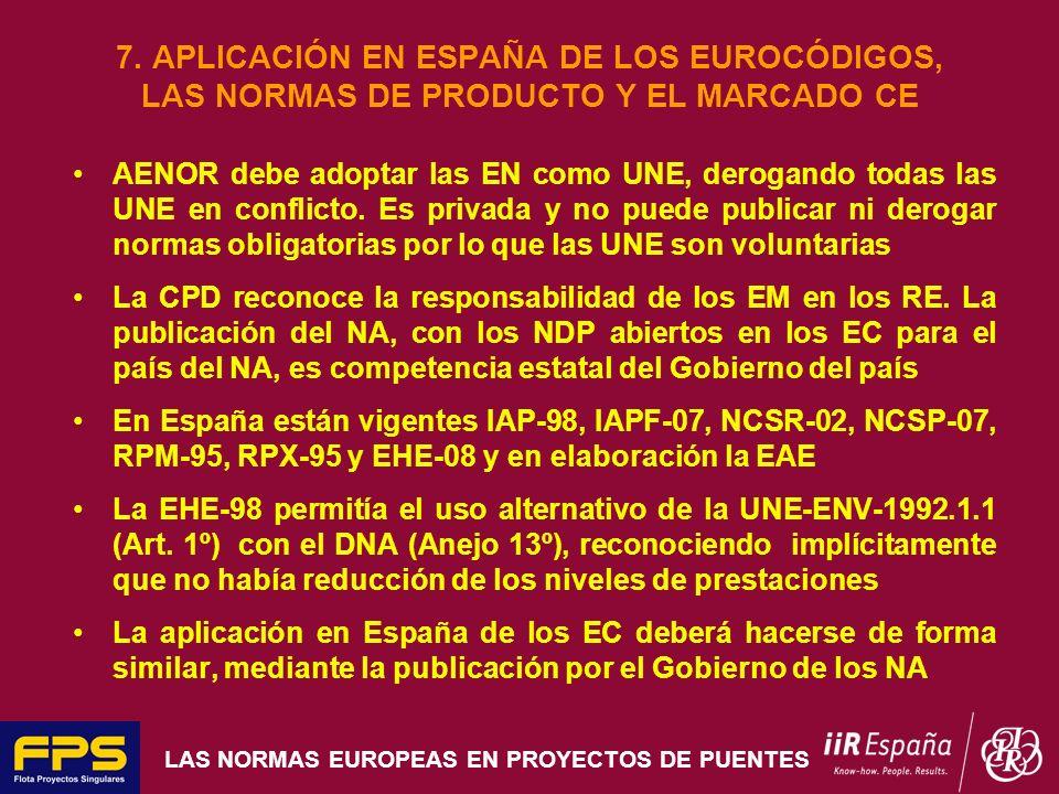 LAS NORMAS EUROPEAS EN PROYECTOS DE PUENTES 7. APLICACIÓN EN ESPAÑA DE LOS EUROCÓDIGOS, LAS NORMAS DE PRODUCTO Y EL MARCADO CE AENOR debe adoptar las