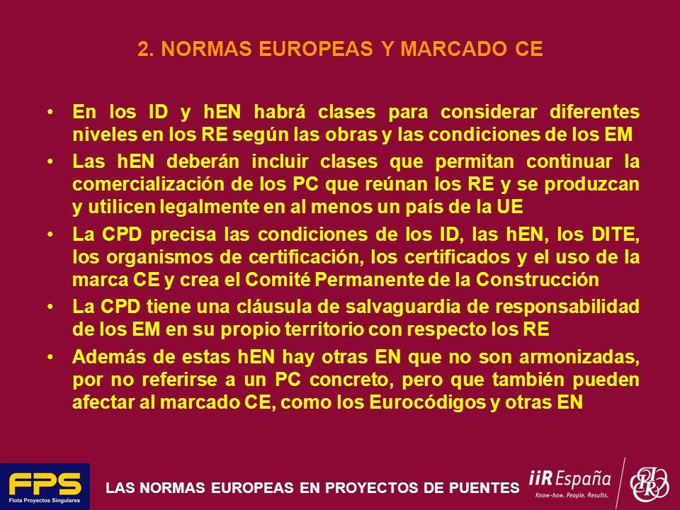 LAS NORMAS EUROPEAS EN PROYECTOS DE PUENTES 2. NORMAS EUROPEAS Y MARCADO CE En los ID y hEN habrá clases para considerar diferentes niveles en los RE