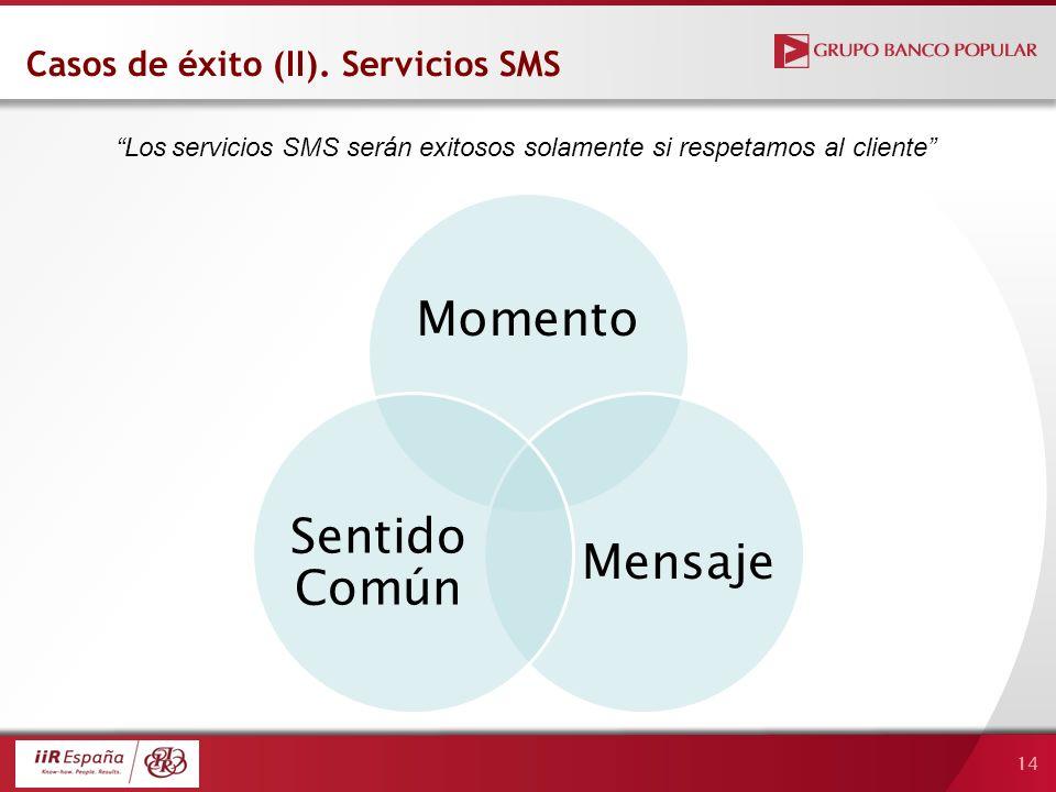 14 Momento Mensaje Sentido Común Casos de éxito (II). Servicios SMS Los servicios SMS serán exitosos solamente si respetamos al cliente