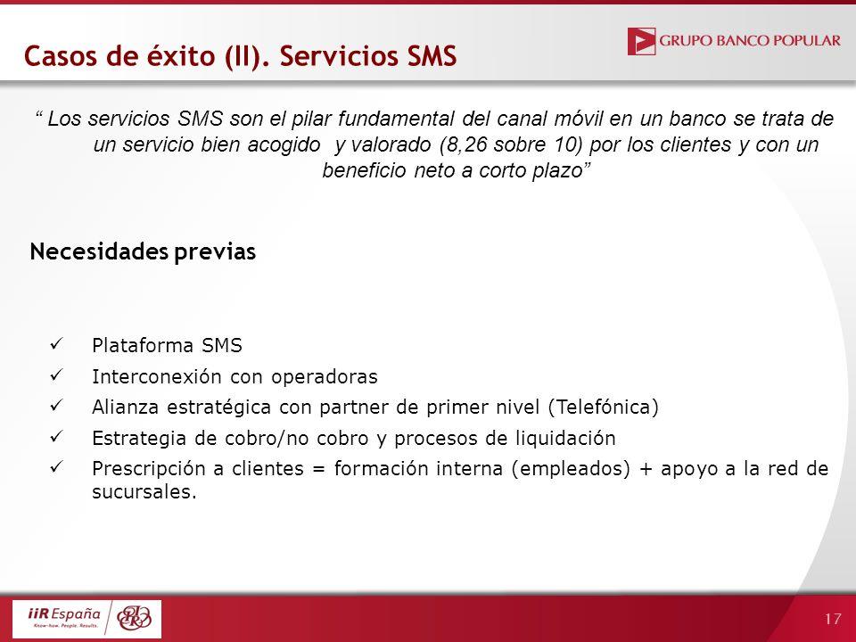 17 Plataforma SMS Interconexión con operadoras Alianza estratégica con partner de primer nivel (Telefónica) Estrategia de cobro/no cobro y procesos de liquidación Prescripción a clientes = formación interna (empleados) + apoyo a la red de sucursales.