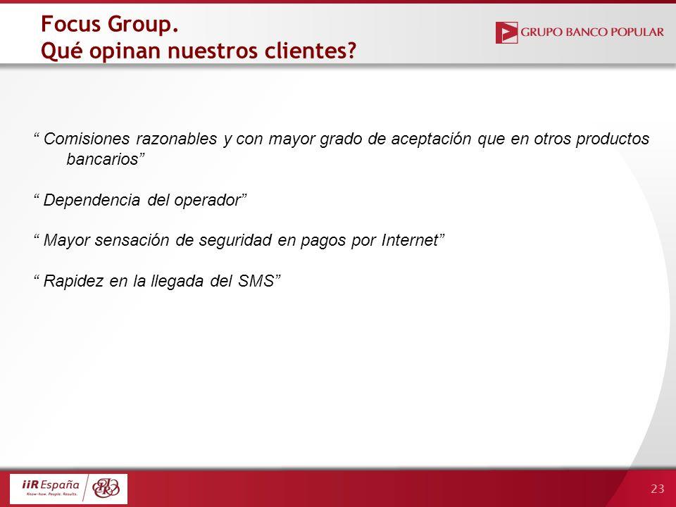 23 Focus Group. Qué opinan nuestros clientes? Comisiones razonables y con mayor grado de aceptación que en otros productos bancarios Dependencia del o