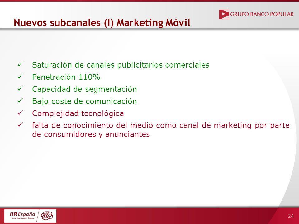 24 Nuevos subcanales (I) Marketing Móvil Saturación de canales publicitarios comerciales Penetración 110% Capacidad de segmentación Bajo coste de comunicación Complejidad tecnológica falta de conocimiento del medio como canal de marketing por parte de consumidores y anunciantes