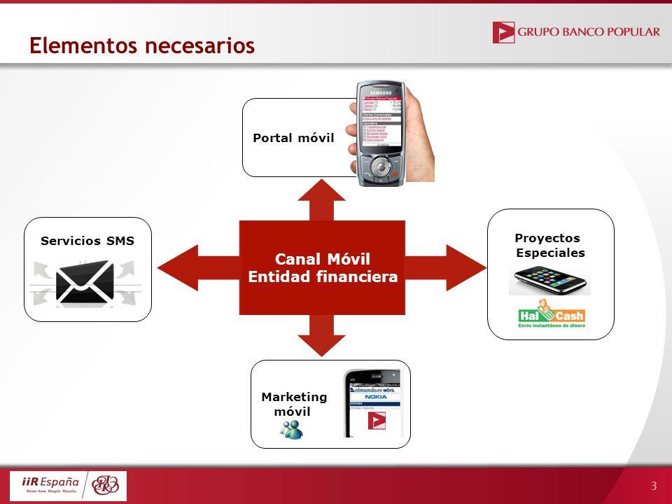 3 Canal Móvil Entidad financiera Servicios SMS Proyectos Especiales Marketing móvil Portal móvil Elementos necesarios