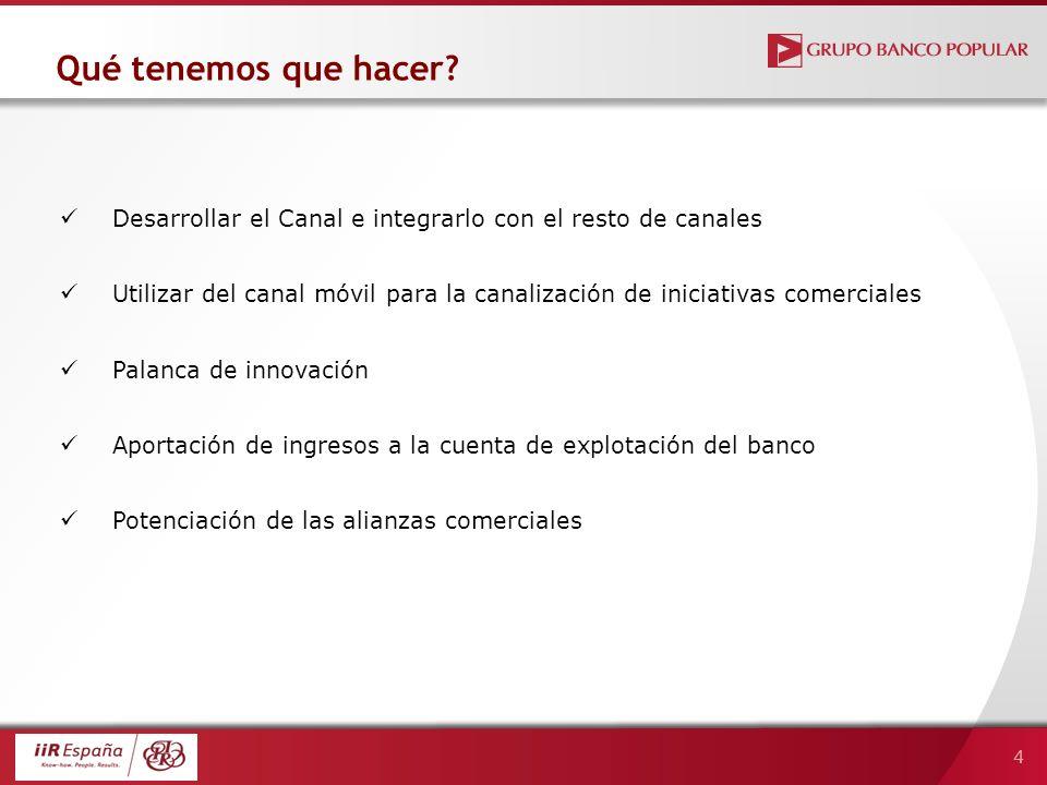 4 Desarrollar el Canal e integrarlo con el resto de canales Utilizar del canal móvil para la canalización de iniciativas comerciales Palanca de innova