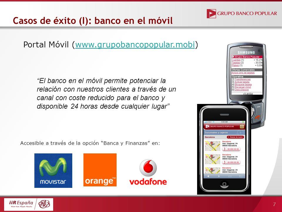 7 Portal Móvil (www.grupobancopopular.mobi)www.grupobancopopular.mobi Casos de éxito (I): banco en el móvil Accesible a través de la opción Banca y Fi