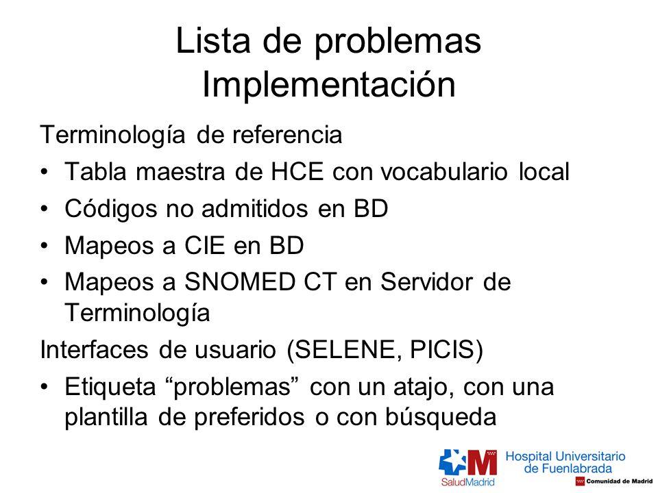 Lista de problemas Implementación Terminología de referencia Tabla maestra de HCE con vocabulario local Códigos no admitidos en BD Mapeos a CIE en BD