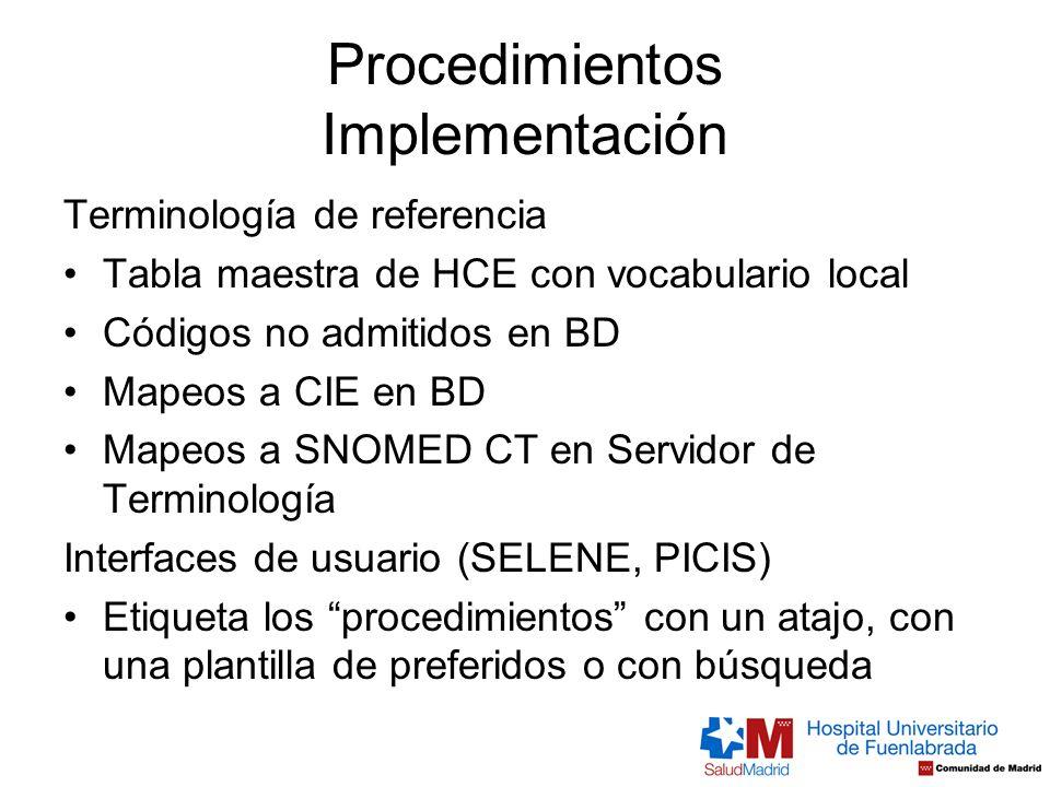 Procedimientos Implementación Terminología de referencia Tabla maestra de HCE con vocabulario local Códigos no admitidos en BD Mapeos a CIE en BD Mape