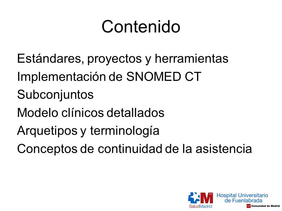 Contenido Estándares, proyectos y herramientas Implementación de SNOMED CT Subconjuntos Modelo clínicos detallados Arquetipos y terminología Conceptos