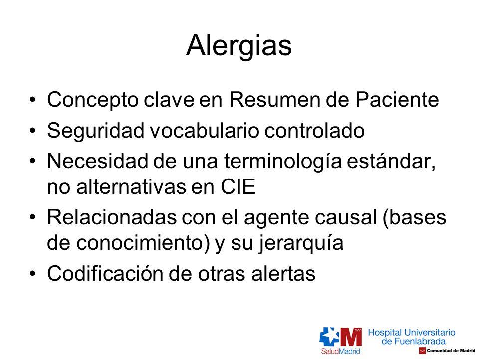 Alergias Concepto clave en Resumen de Paciente Seguridad vocabulario controlado Necesidad de una terminología estándar, no alternativas en CIE Relacio