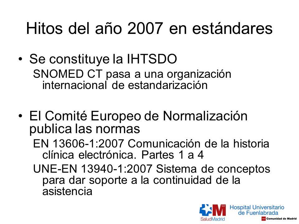 Hitos del año 2007 en estándares Se constituye la IHTSDO SNOMED CT pasa a una organización internacional de estandarización El Comité Europeo de Norma