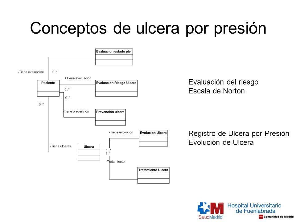 Conceptos de ulcera por presión Evaluación del riesgo Escala de Norton Registro de Ulcera por Presión Evolución de Ulcera