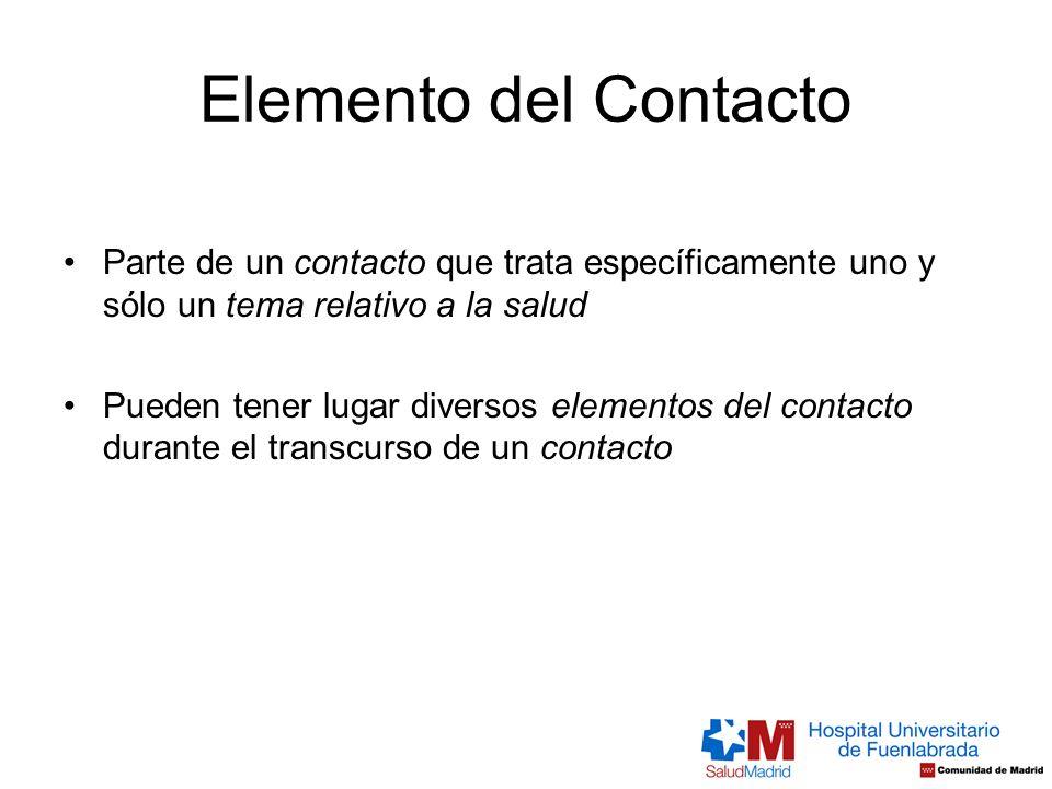Elemento del Contacto Parte de un contacto que trata específicamente uno y sólo un tema relativo a la salud Pueden tener lugar diversos elementos del