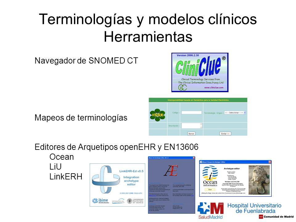 Terminologías y modelos clínicos Herramientas Navegador de SNOMED CT Editores de Arquetipos openEHR y EN13606 Ocean LiU LinkERH Mapeos de terminología