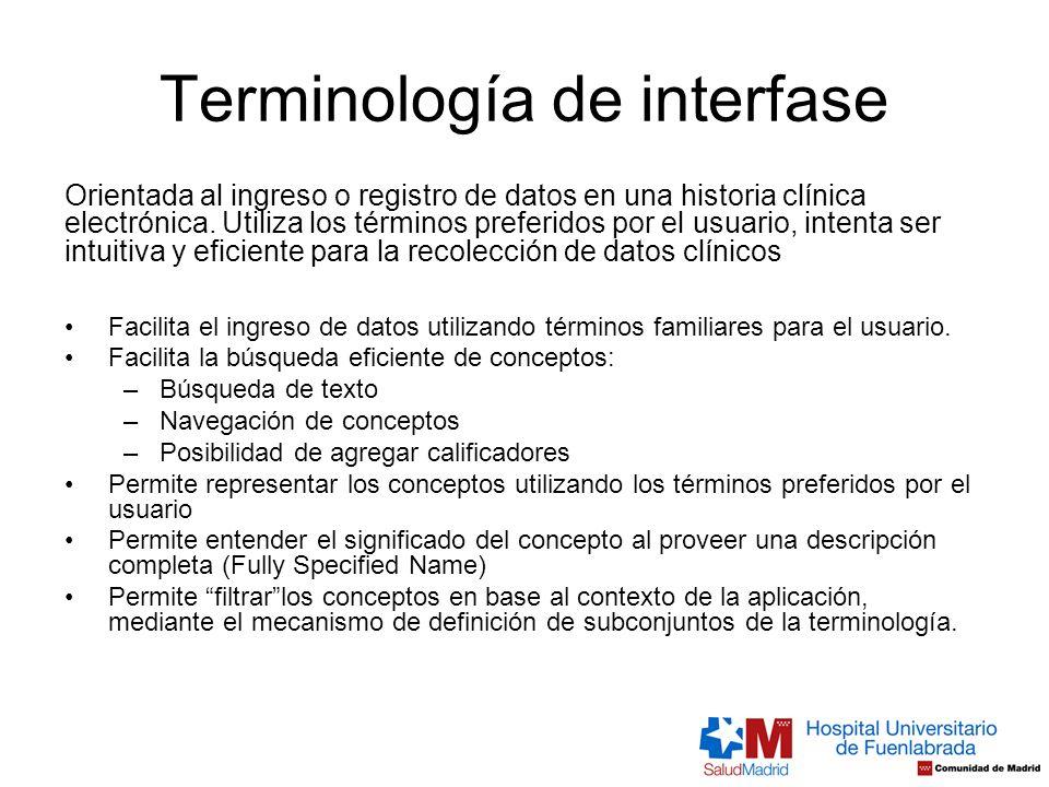 Terminología de interfase Orientada al ingreso o registro de datos en una historia clínica electrónica. Utiliza los términos preferidos por el usuario