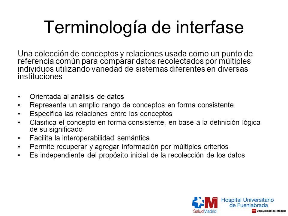 Terminología de interfase Una colección de conceptos y relaciones usada como un punto de referencia común para comparar datos recolectados por múltipl