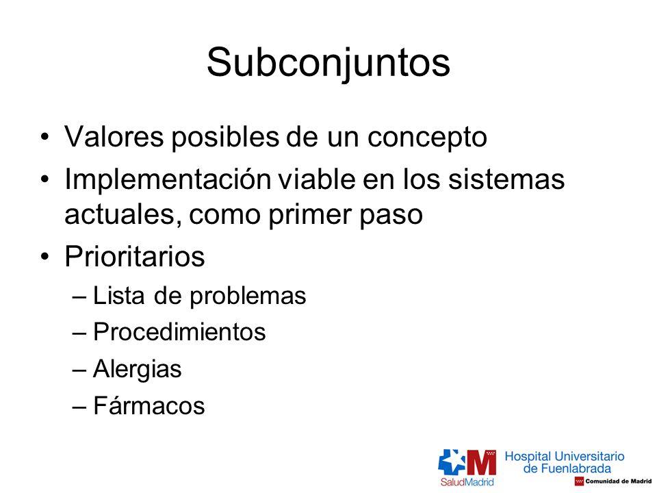 Subconjuntos Valores posibles de un concepto Implementación viable en los sistemas actuales, como primer paso Prioritarios –Lista de problemas –Proced
