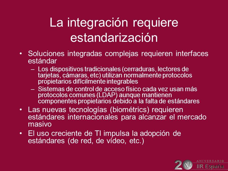 La integración requiere estandarización Soluciones integradas complejas requieren interfaces estándar –Los dispositivos tradicionales (cerraduras, lec