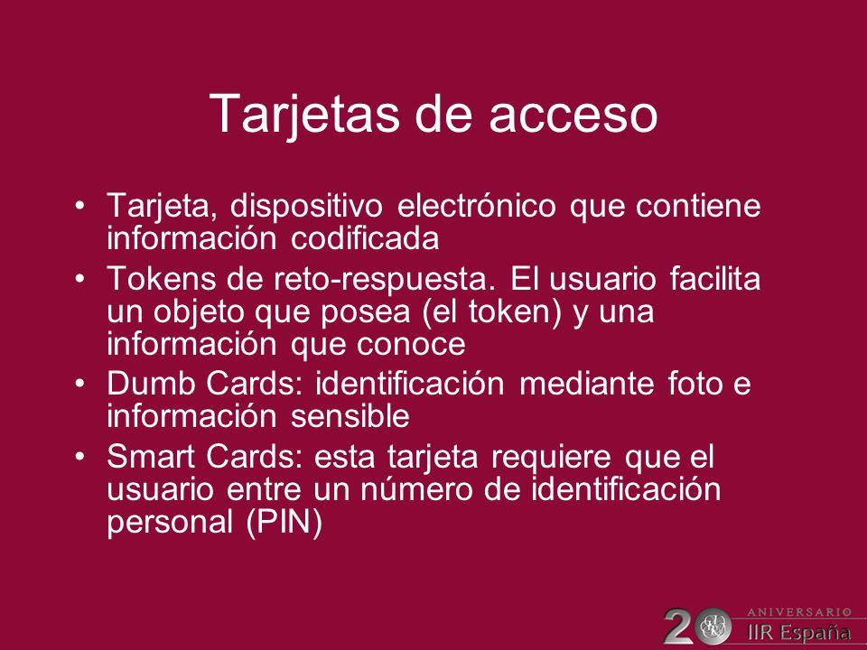 Tarjetas de acceso Tarjeta, dispositivo electrónico que contiene información codificada Tokens de reto-respuesta. El usuario facilita un objeto que po
