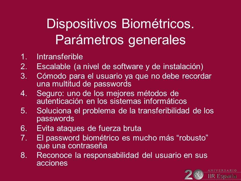 Dispositivos Biométricos. Parámetros generales 1.Intransferible 2.Escalable (a nivel de software y de instalación) 3.Cómodo para el usuario ya que no