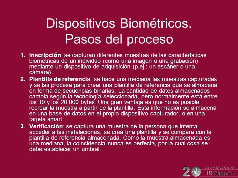 Dispositivos Biométricos. Pasos del proceso 1.Inscripción: se capturan diferentes muestras de las características biométricas de un individuo (como un
