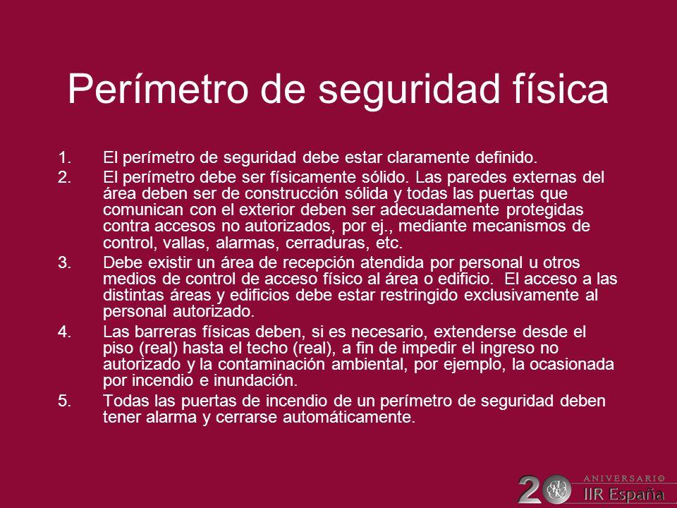 Perímetro de seguridad física 1.El perímetro de seguridad debe estar claramente definido. 2.El perímetro debe ser físicamente sólido. Las paredes exte