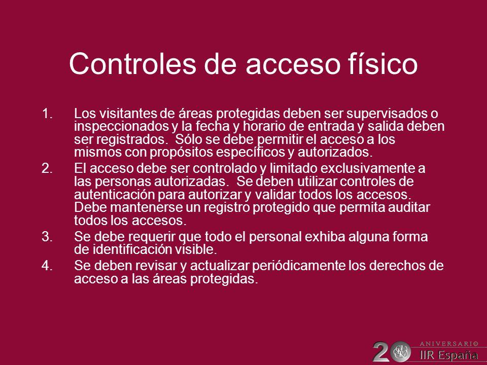 Controles de acceso físico 1.Los visitantes de áreas protegidas deben ser supervisados o inspeccionados y la fecha y horario de entrada y salida deben