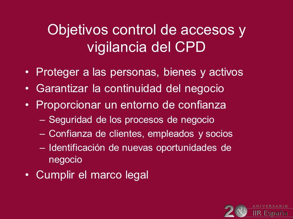 Objetivos control de accesos y vigilancia del CPD Proteger a las personas, bienes y activos Garantizar la continuidad del negocio Proporcionar un ento