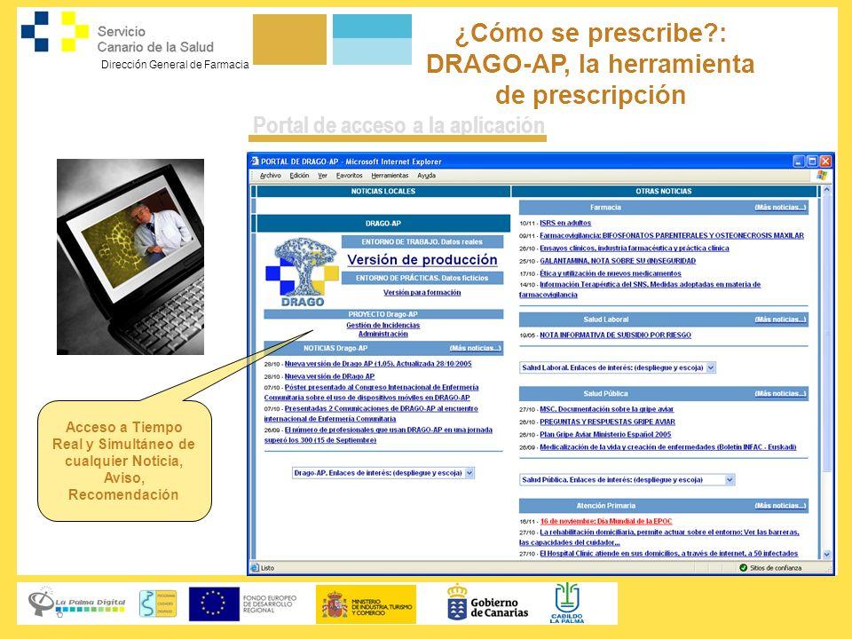 Dirección General de Farmacia ¿Cómo se prescribe?: DRAGO-AP, la herramienta de prescripción Servicio Canario de la Salud Portal de acceso a la aplicac