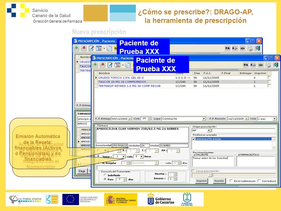 Dirección General de Farmacia Nueva prescripción Paciente de Prueba XXX ¿Cómo se prescribe?: DRAGO-AP, la herramienta de prescripción Paciente de Prue