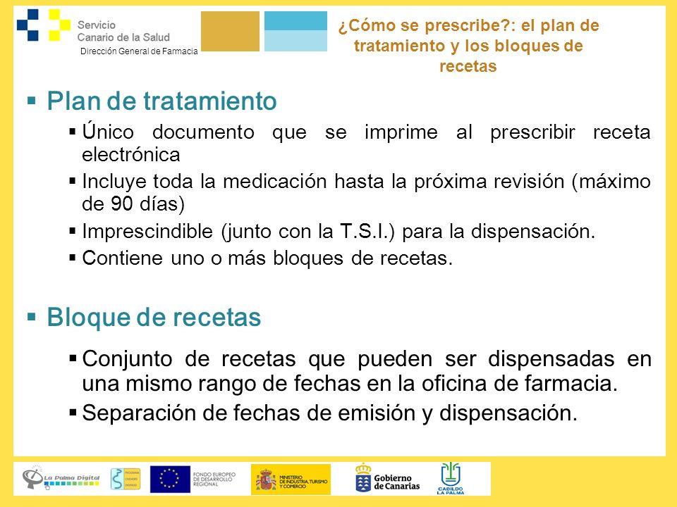 Dirección General de Farmacia ¿Cómo se prescribe?: el plan de tratamiento y los bloques de recetas Plan de tratamiento Único documento que se imprime