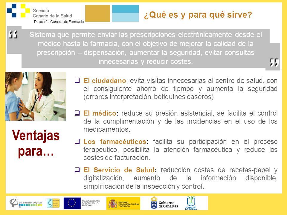 Dirección General de Farmacia Algunos aspectos técnicos (autentificación, comunicaciones, seguridad en los datos) La autenticación de médico, inspector y farmacéutico se realiza mediante certificados X509v3.