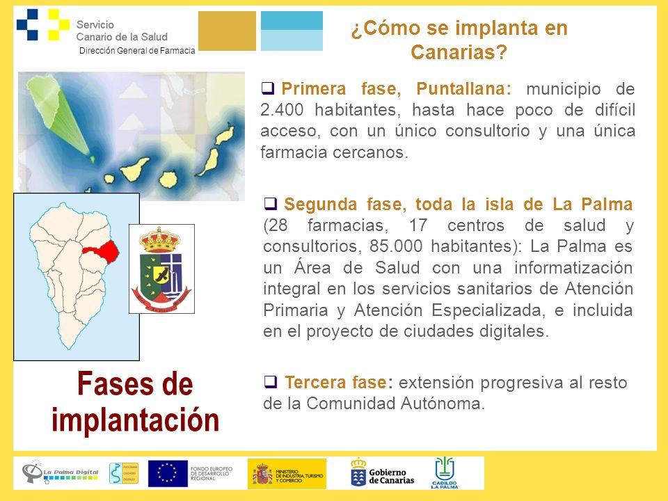 Dirección General de Farmacia ¿Cómo se implanta en Canarias? Primera fase, Puntallana: municipio de 2.400 habitantes, hasta hace poco de difícil acces