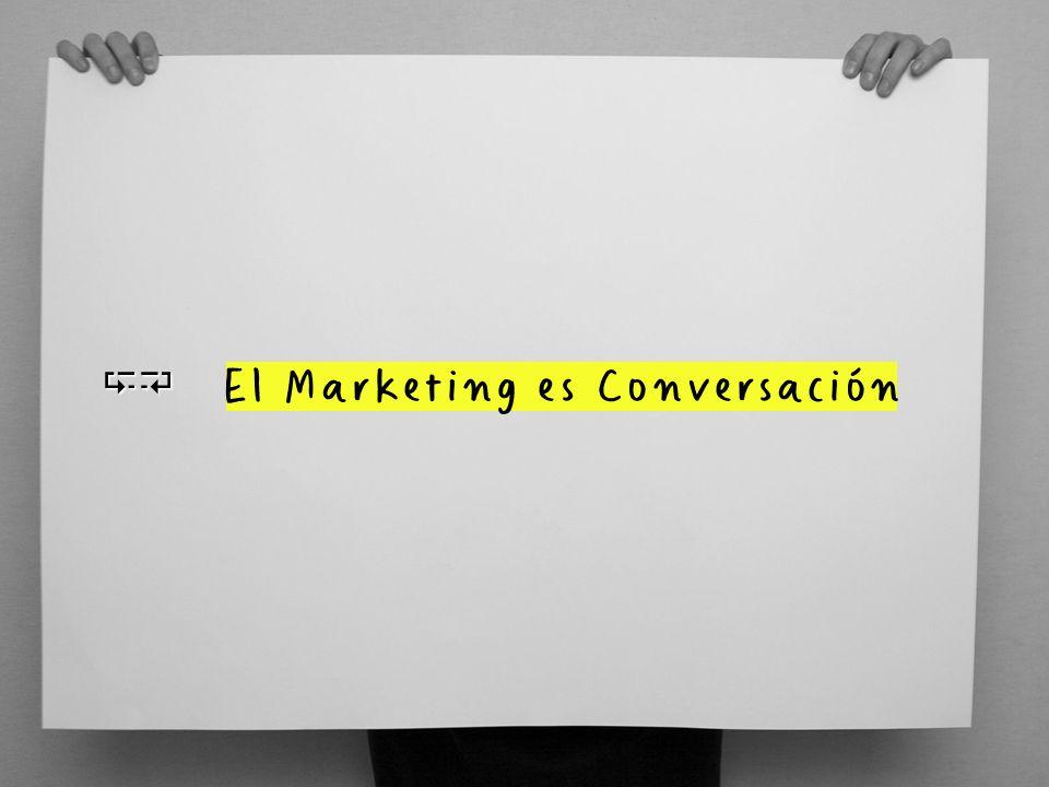 EL MARKETING ES CONVERSACIóN Hoy, el marketing debe ser entendido como una conversación, una comunicación interactiva, entre la marca y su público.