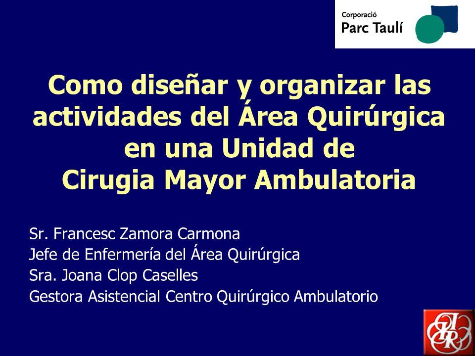 Como diseñar y organizar las actividades del Área Quirúrgica en una Unidad de Cirugia Mayor Ambulatoria Sr. Francesc Zamora Carmona Jefe de Enfermería