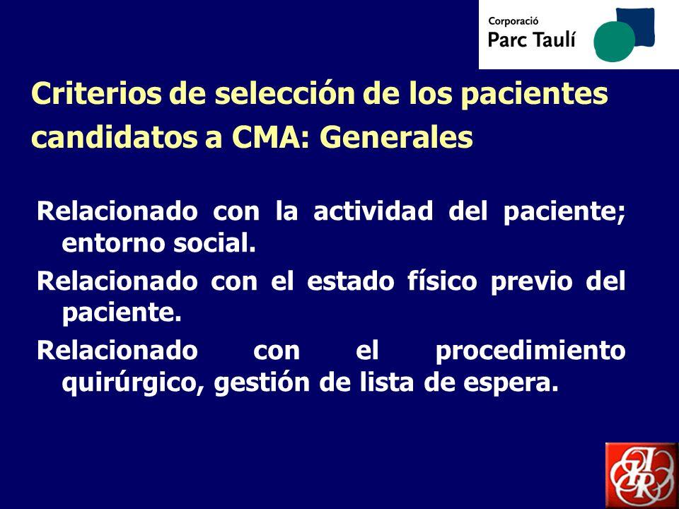 Criterios de selección de los pacientes candidatos a CMA: Generales Relacionado con la actividad del paciente; entorno social. Relacionado con el esta