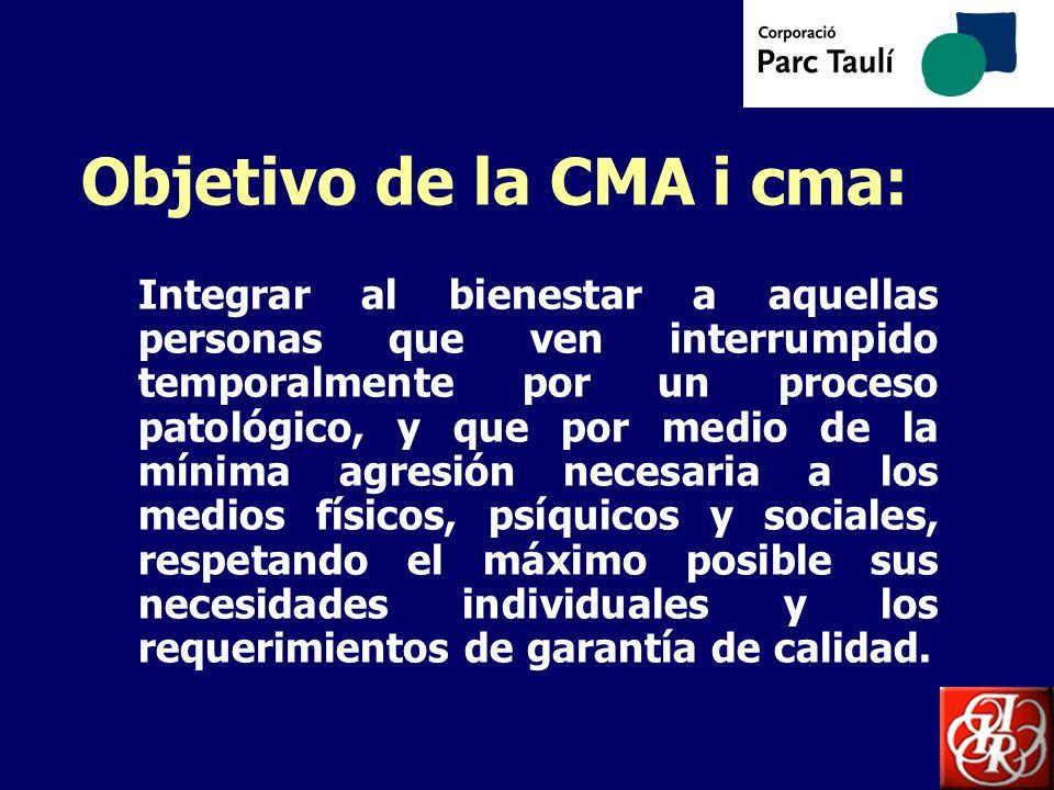 Objetivo de la CMA i cma: Integrar al bienestar a aquellas personas que ven interrumpido temporalmente por un proceso patológico, y que por medio de l