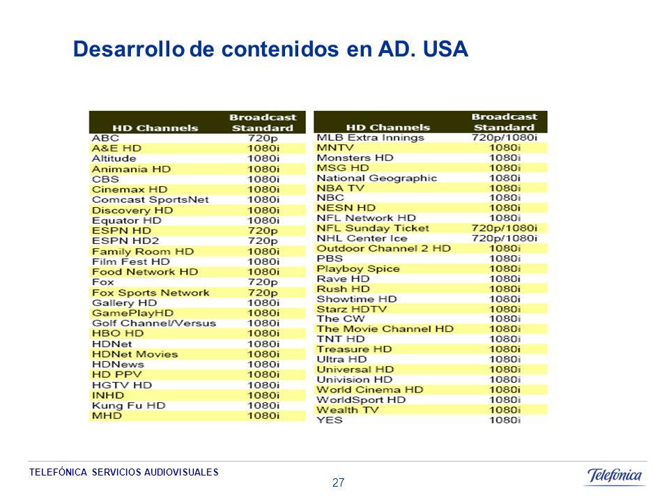 TELEFÓNICA SERVICIOS AUDIOVISUALES 27 Desarrollo de contenidos en AD. USA