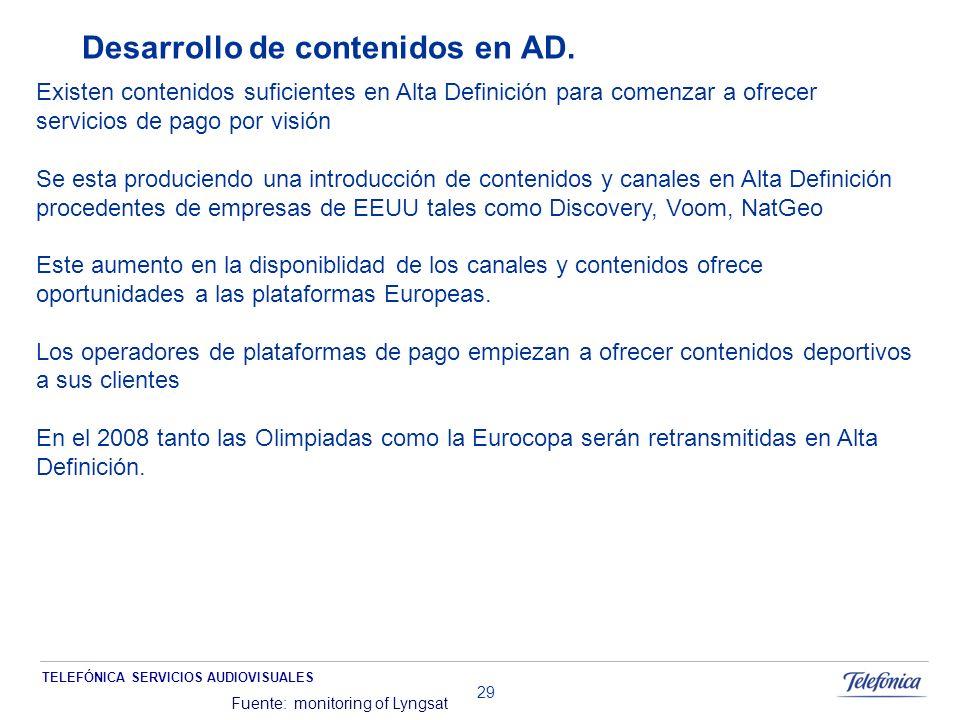 TELEFÓNICA SERVICIOS AUDIOVISUALES 29 Desarrollo de contenidos en AD.