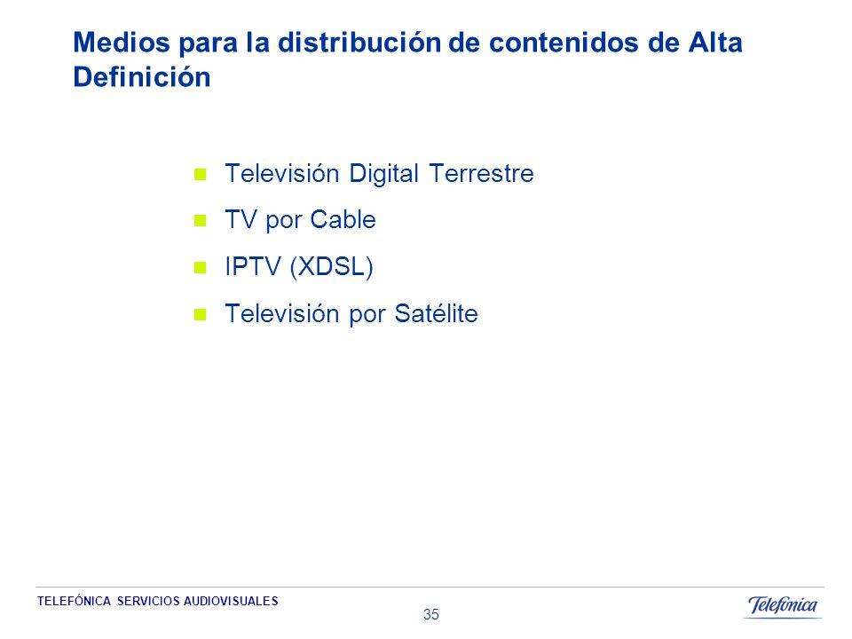 TELEFÓNICA SERVICIOS AUDIOVISUALES 35 Medios para la distribución de contenidos de Alta Definición Televisión Digital Terrestre TV por Cable IPTV (XDSL) Televisión por Satélite