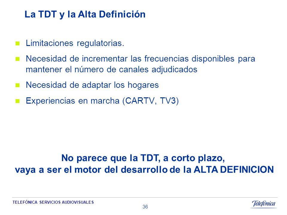 TELEFÓNICA SERVICIOS AUDIOVISUALES 36 La TDT y la Alta Definición Limitaciones regulatorias.