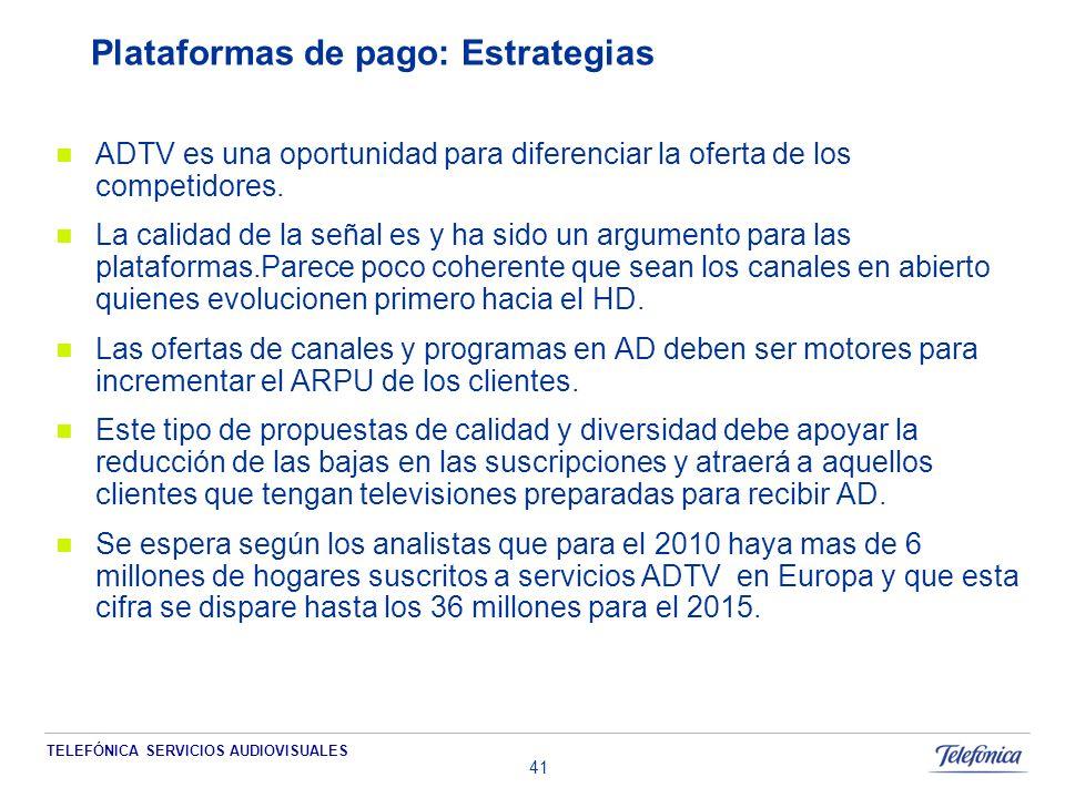 TELEFÓNICA SERVICIOS AUDIOVISUALES 41 Plataformas de pago: Estrategias ADTV es una oportunidad para diferenciar la oferta de los competidores.