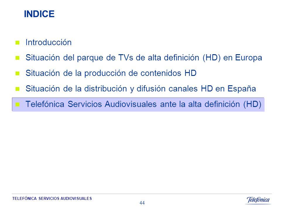 TELEFÓNICA SERVICIOS AUDIOVISUALES 44 INDICE Introducción Situación del parque de TVs de alta definición (HD) en Europa Situación de la producción de contenidos HD Situación de la distribución y difusión canales HD en España Telefónica Servicios Audiovisuales ante la alta definición (HD)