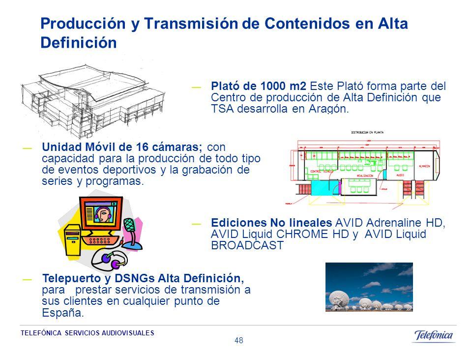 TELEFÓNICA SERVICIOS AUDIOVISUALES 48 Producción y Transmisión de Contenidos en Alta Definición Plató de 1000 m2 Este Plató forma parte del Centro de producción de Alta Definición que TSA desarrolla en Aragón.
