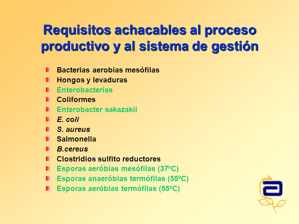 Requisitos achacables al proceso productivo y al sistema de gestión Bacterias aerobias mesófilas Hongos y levaduras Enterobacterias Coliformes Enterobacter sakazakii E.